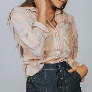 Free People Pink Cutie Plaid Button Down S…